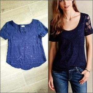 Anthropologie Meadow Rue navy lace tee